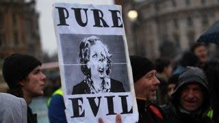 Protests continue at Margaret Thatcher's funeral